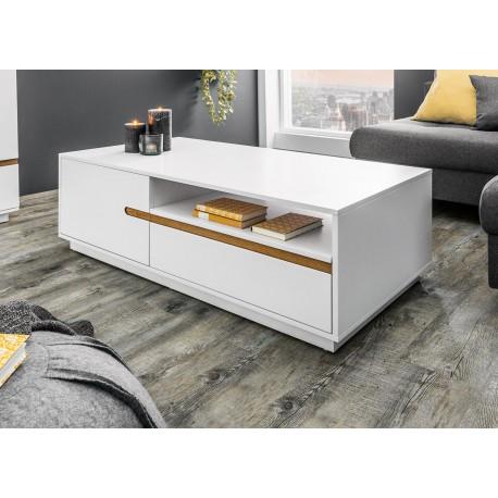 Table basse 2 portes, 2 tiroirs et 1 compartiment blanche et chêne