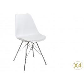 Chaises style rétro coque blanche et pieds chromés