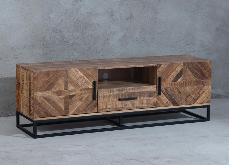 Meuble tv 160 cm design industriel bois de manguier