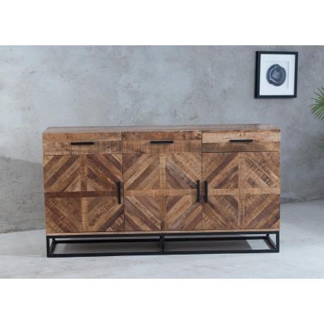 Buffet bois massif 160 cm design industriel bois de manguier
