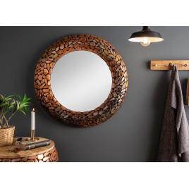 Miroir rond cuivré effet mosaïque 82 cm