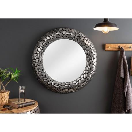 Miroir rond argenté effet mosaïque 82 cm