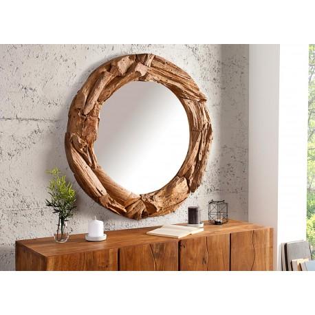 Miroir rond en bois massif recyclé 80 cm