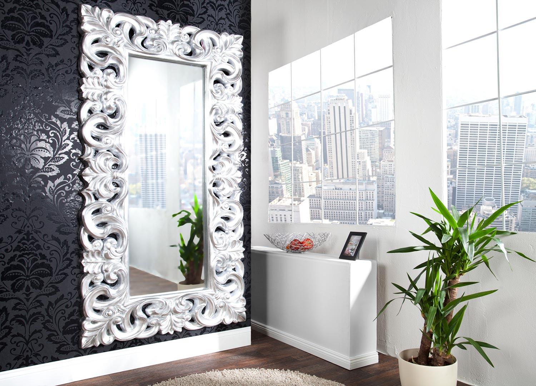 Grand Miroir D Entrée grand miroir argent antique de style baroque 180 cm - cbc