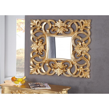 Miroir mural décoratif carré or antique de style baroque 75 cm