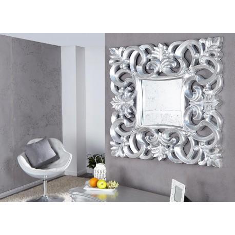 Miroir mural décoratif carré argent antique de style baroque 75 cm