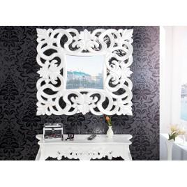 Miroir mural décoratif carré blanc de style baroque 75 cm