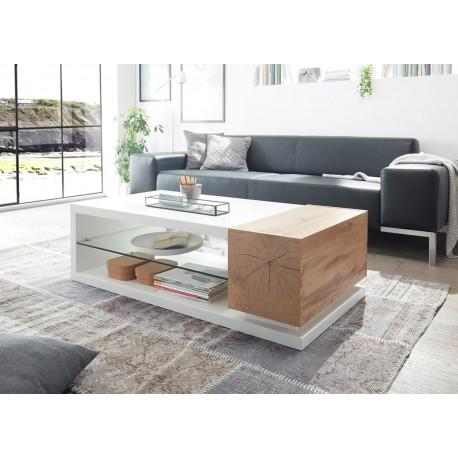Table basse design blanc laqué mat et chêne 2 portes