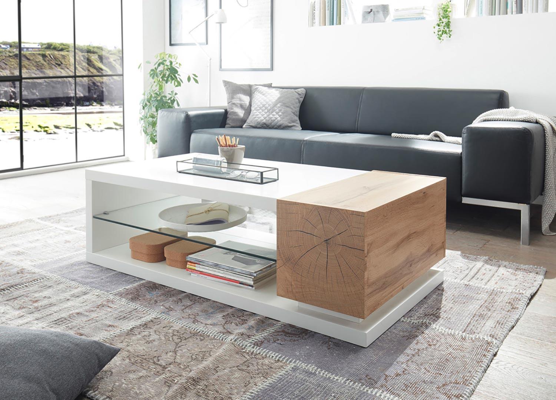 Table basse design 2 portes blanc laqué mat et chêne