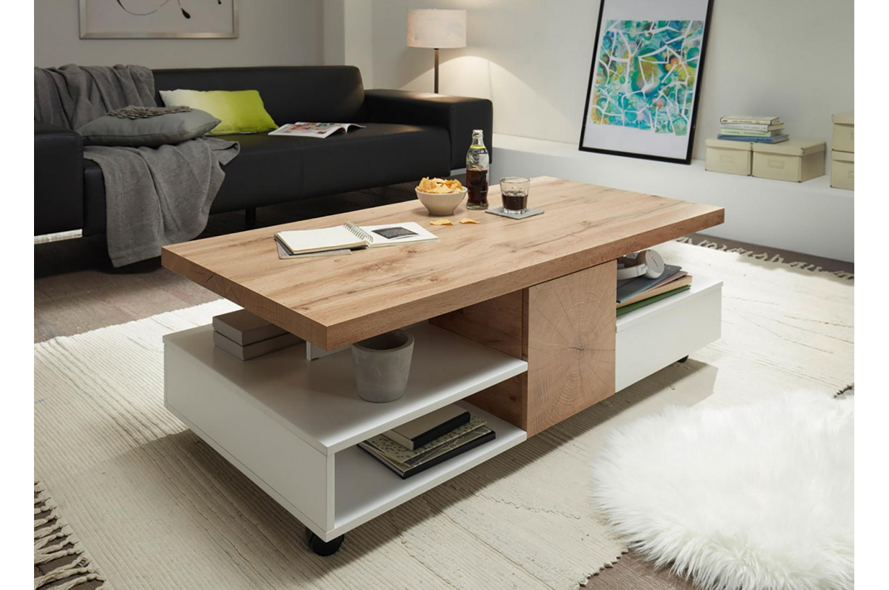 Table basse design rectangulaire 2 portes et 2 tiroirs sur Table basse sur roulette