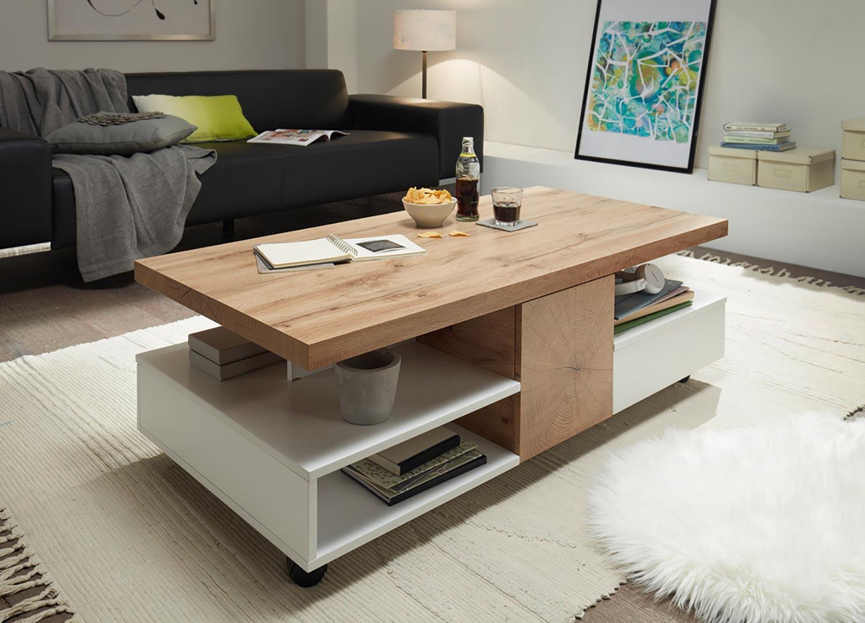 Table basse design rectangulaire 2 portes et 2 tiroirs sur roulettes