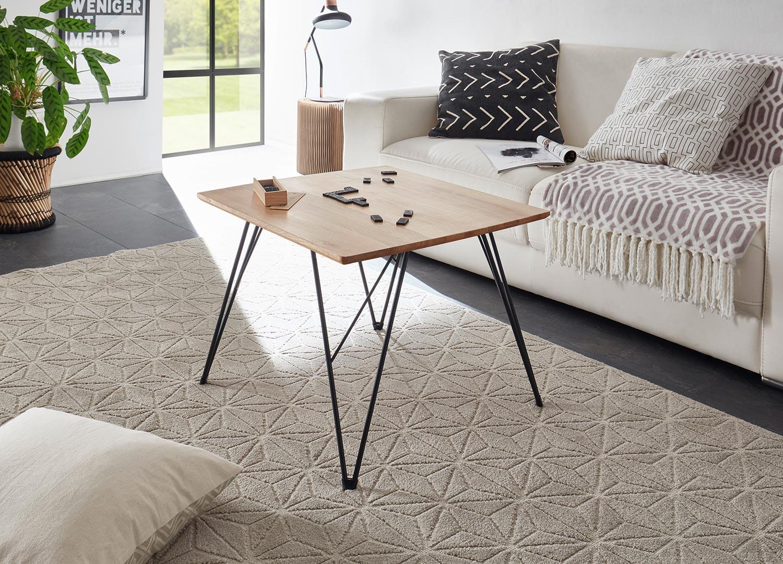 Table basse carrée 60 cm chêne massif et pieds eiffel noir métal