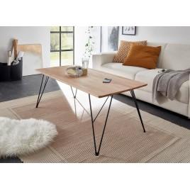 Table basse rectangulaire 120 cm chêne massif et pieds eiffel noir métal