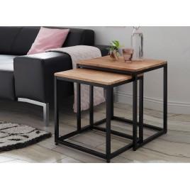 Lot de 2 tables d'appoint bout de canapé bois massif et métal