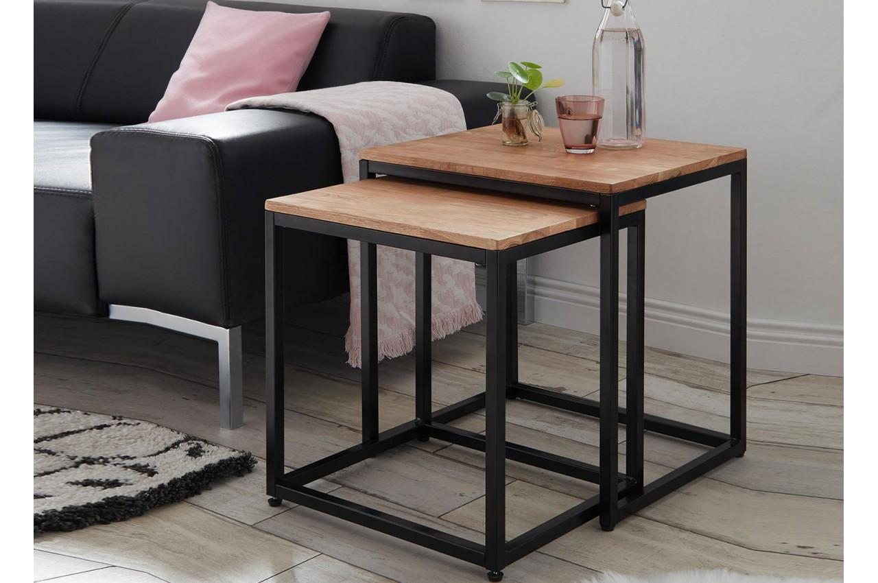 Lot de 2 tables d 39 appoint bout de canap bois massif et Table d appoint bout de canape