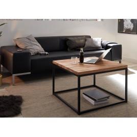 Table basse carrée bois massif et métal 70 cm