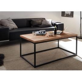 Table basse rectangulaire bois massif et métal 110 cm