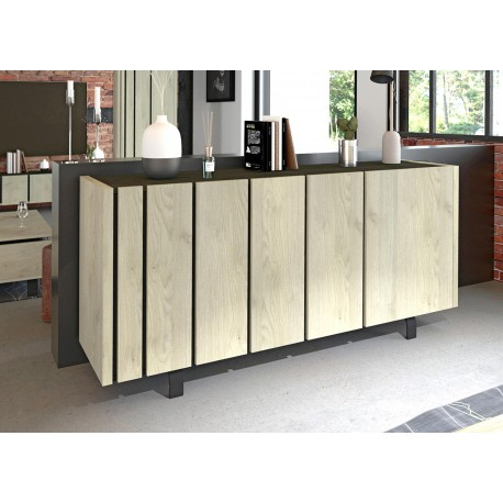 Buffet bahut design 3 portes chêne et décor noir
