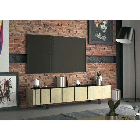 Meuble tv design 3 portes chêne et décor noir