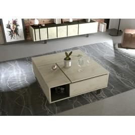 Table basse carrée plateau relevable chêne et pieds métal noir