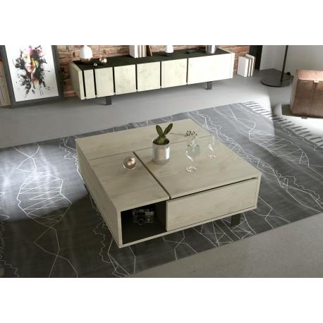 Table Basse Carree Plateau Relevable Chene Et Pieds Metal Noir