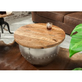 Table basse design bois de manguier industrielle