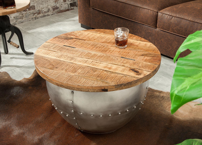 Table basse design bois de manguier industrielle