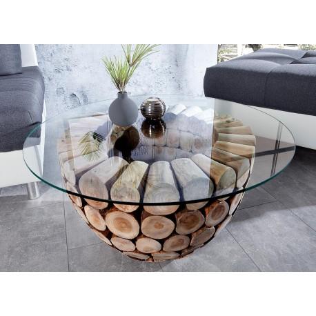 Table basse en bois de teck ronde avec plateau en verre