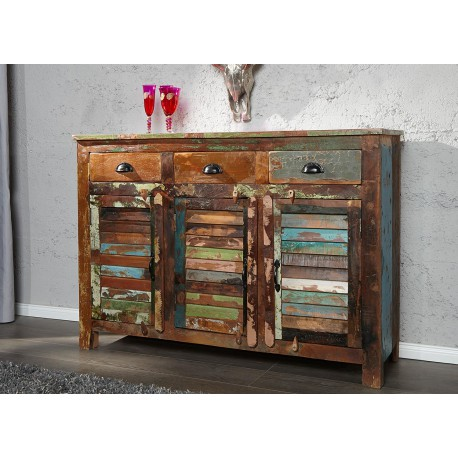 Meuble Buffet En Bois Recycle Colore 1m25 Cbc Meubles