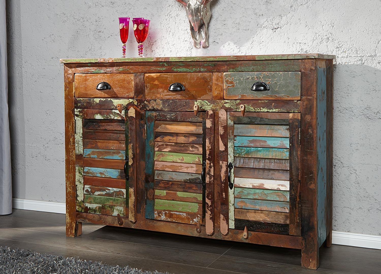 Meuble buffet en bois recyclé coloré 1m25