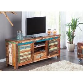Meuble tv en bois massif recyclé coloré