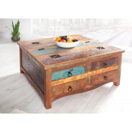 Table basse carrée bois massif recyclé coloré plateau relevable et 4 tiroirs