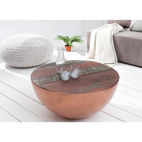 Table basse ronde bois massif recyclé coloré et métal cuivré