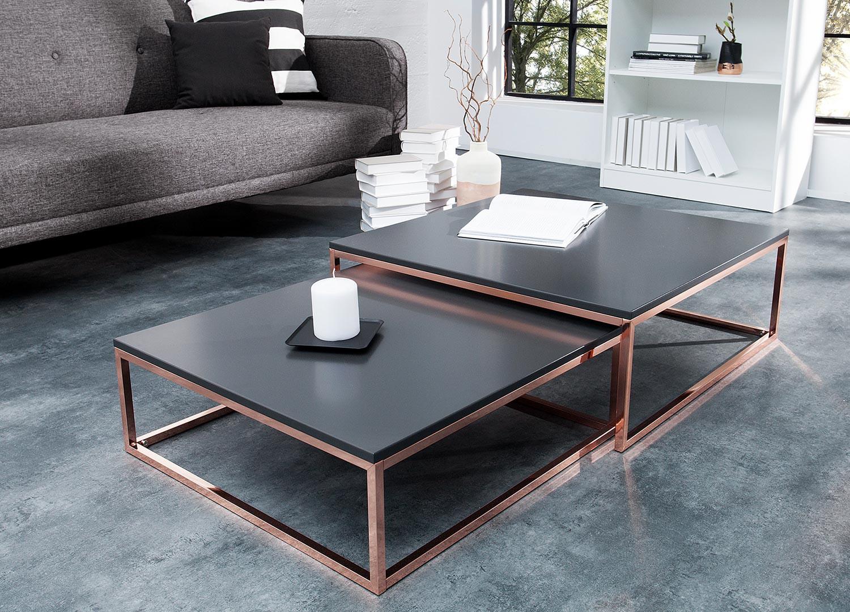 Lot de 2 table basse gigogne carrée anthracite et cuivré
