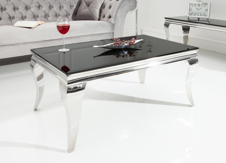 Table basse baroque verre opale noir et pied en acier poli