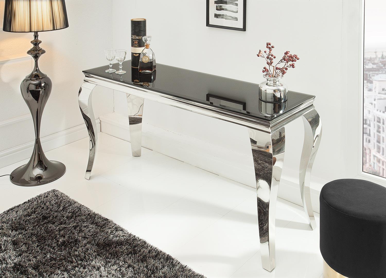 Console moderne baroque verre opale noir et pied en acier poli