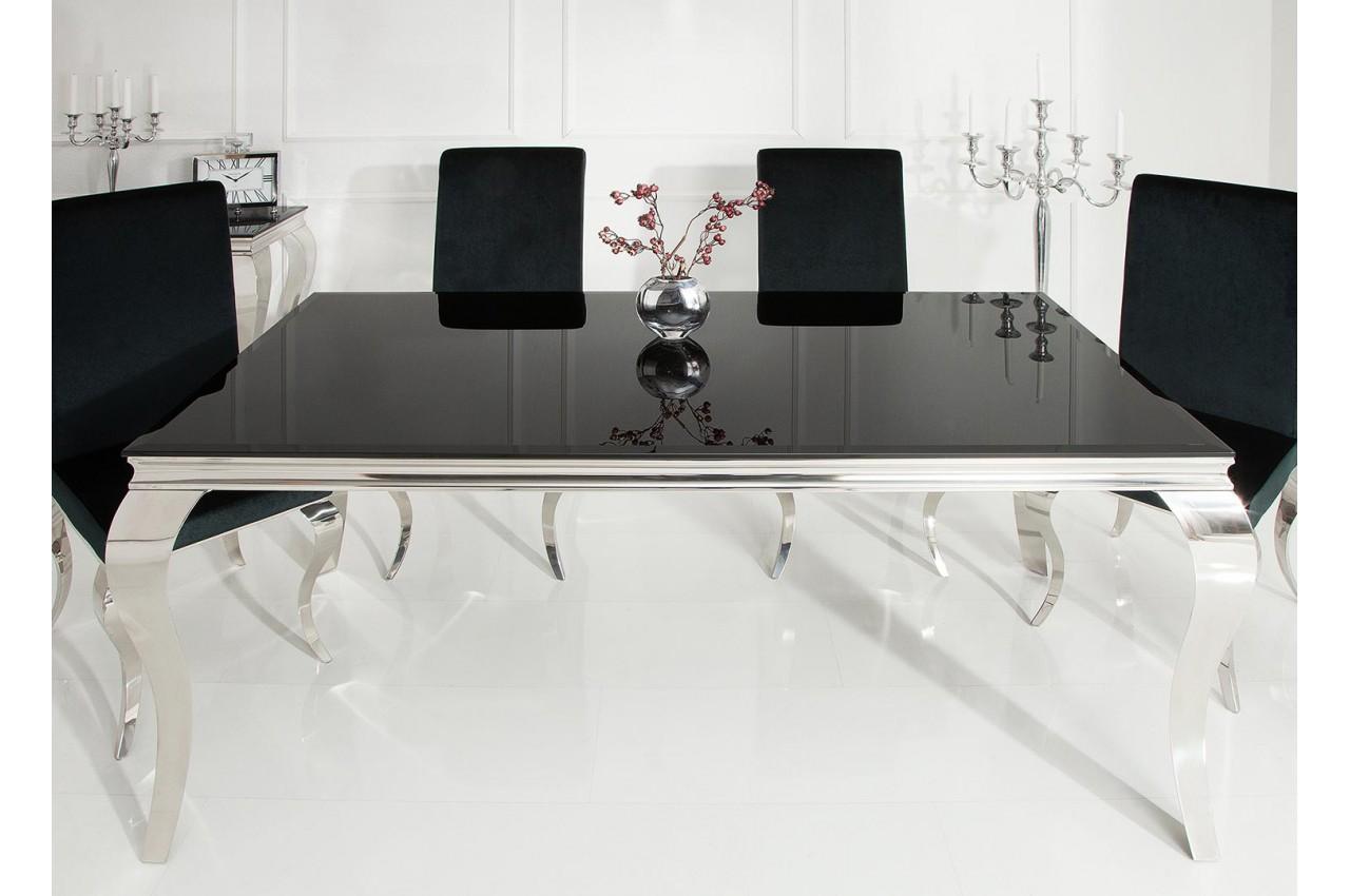 Table à manger baroque verre opale noir et pied en acier ...