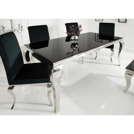 Table à manger baroque verre opale noir et pied en acier poli 1m80