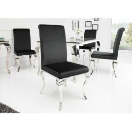 Lot de 4 chaises velours noir style baroque et pied argenté poli