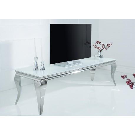 Meuble tv baroque verre opale blanc et pied en acier poli 160 cm