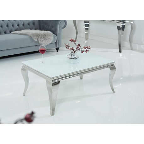 Table basse baroque verre opale blanc et pied en acier poli