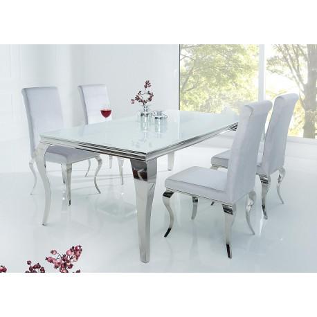 Table à manger baroque verre opale blanc et pied en acier poli 1m80