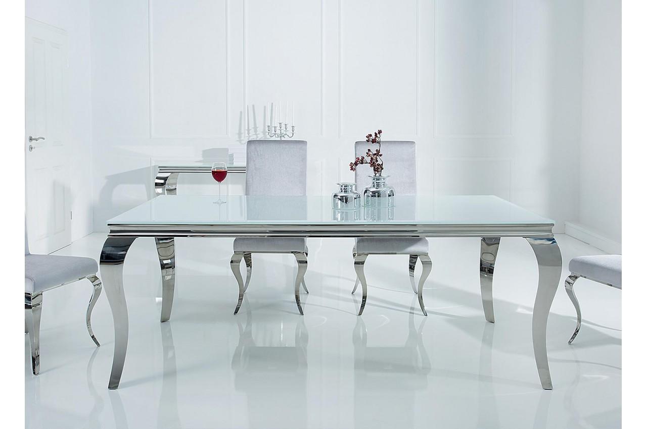 Table à manger baroque verre opale blanc et pied en acier ...