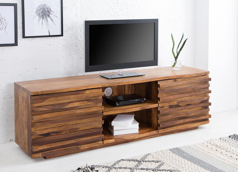 Meuble TV bois massif sesham façades en relief 150 cm