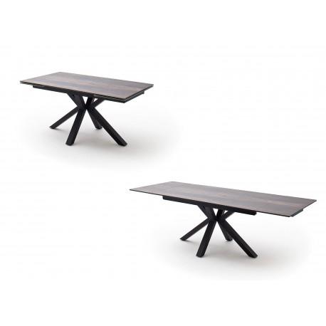 Table à manger plateau extensible céramique anthracite et piétement croisé