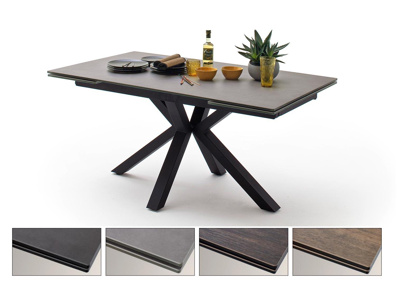 Table à manger plateau extensible céramique et piétement croisé