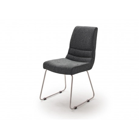 Chaises design tissu avec poignée dossier et pied luge