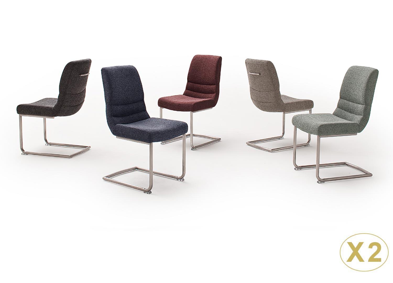 Chaises design tissu avec poignée dossier et pied traîneau
