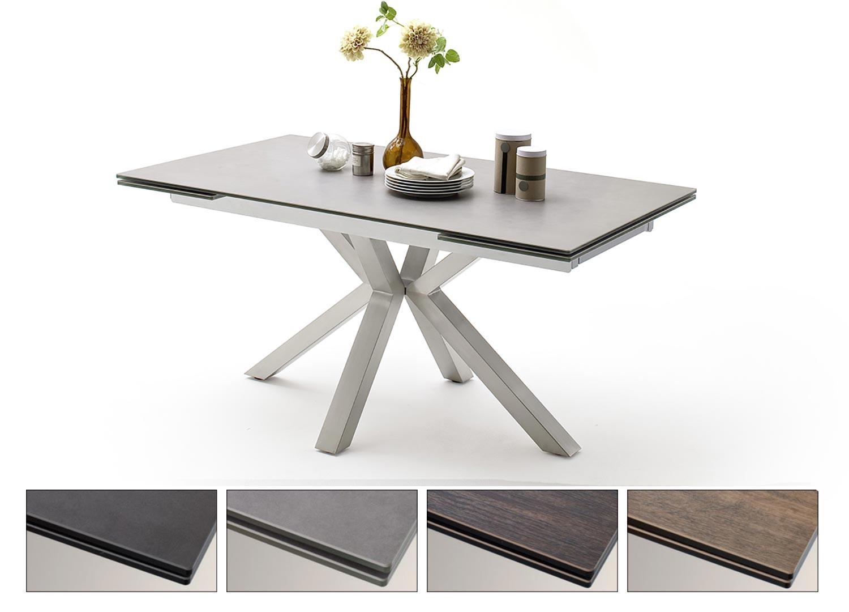 Table à manger extensible céramique et piétement croisé acier brossé