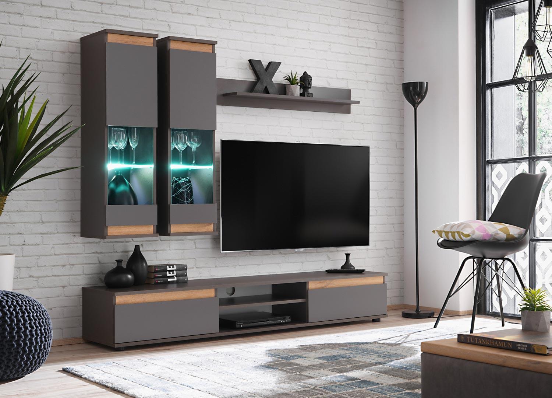 Panneau Mural Derriere Tv meuble tv design mural gris anthracite à led - cbc-meubles